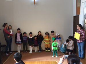 "Children who come to our English class sang ""Jesus Loves Me"" at the church bazaar!"