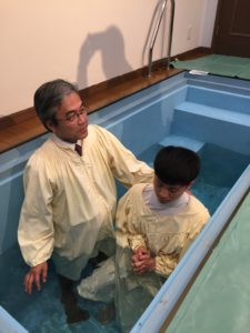One of the high school students was baptized. His parents who are non believers came to church for the first time to see his baptism.